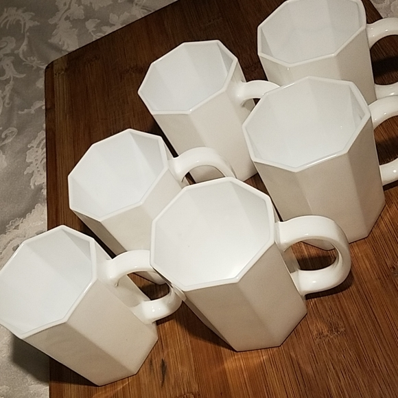 Other - Vintage French Octagon Milkglass Mugs Set- 6
